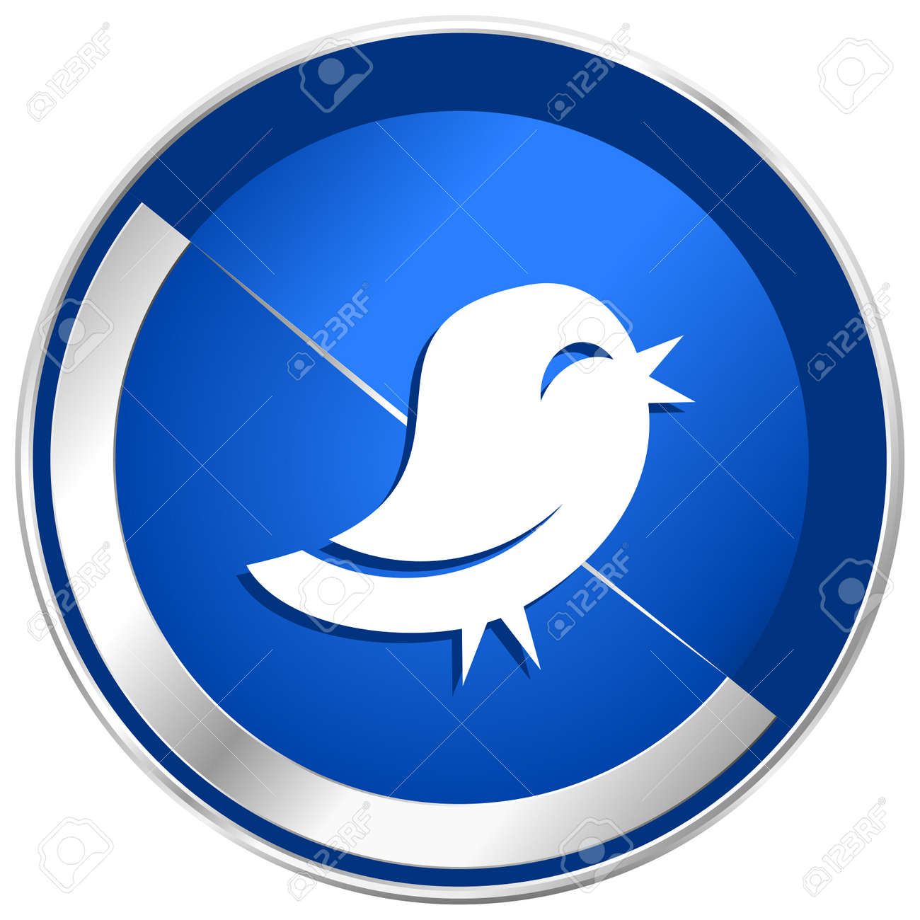 twitter blue silver metallic web and smartphone vector icon isolated