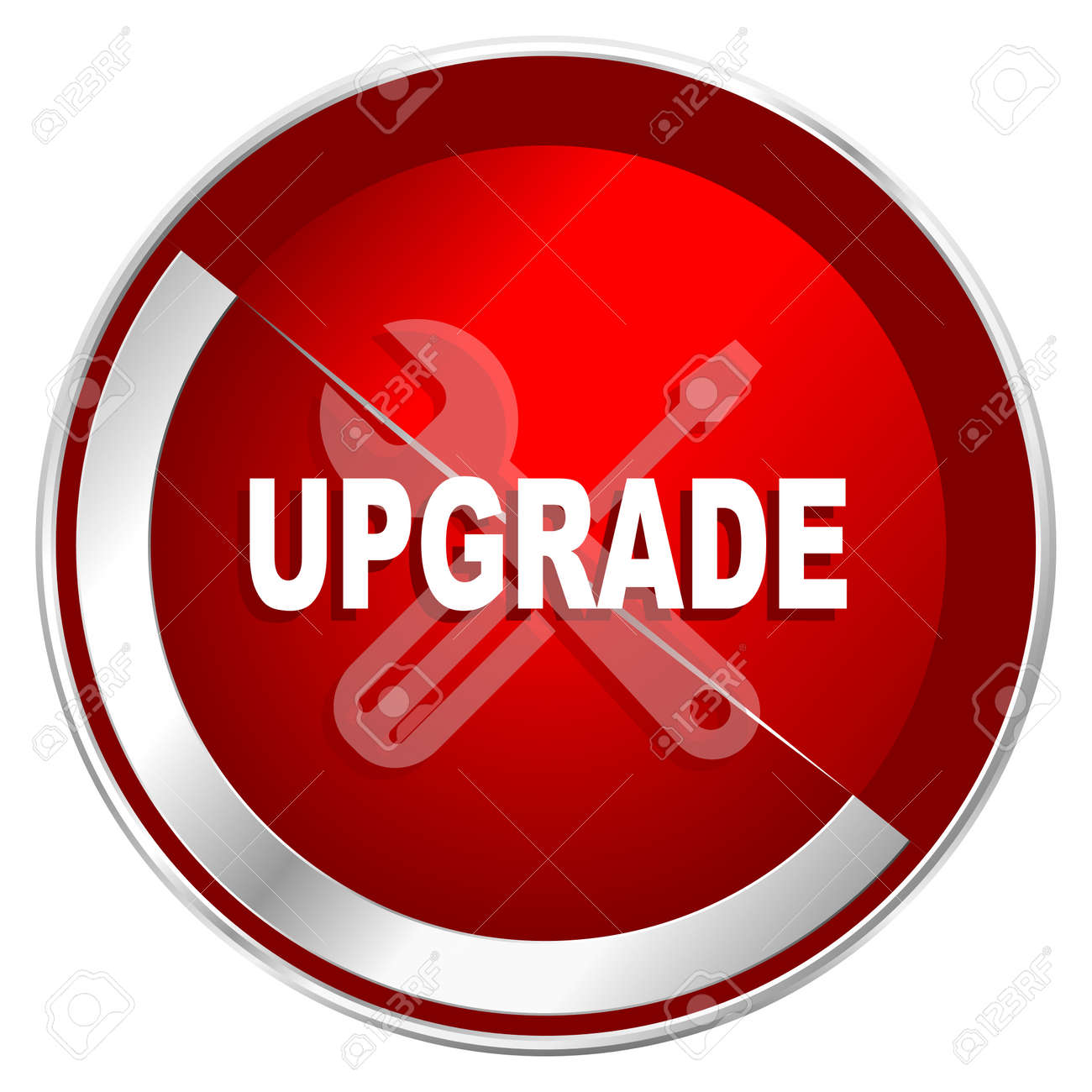 Upgrade Red Web Icon Metal Shine Silver Chrome Border Round Stock