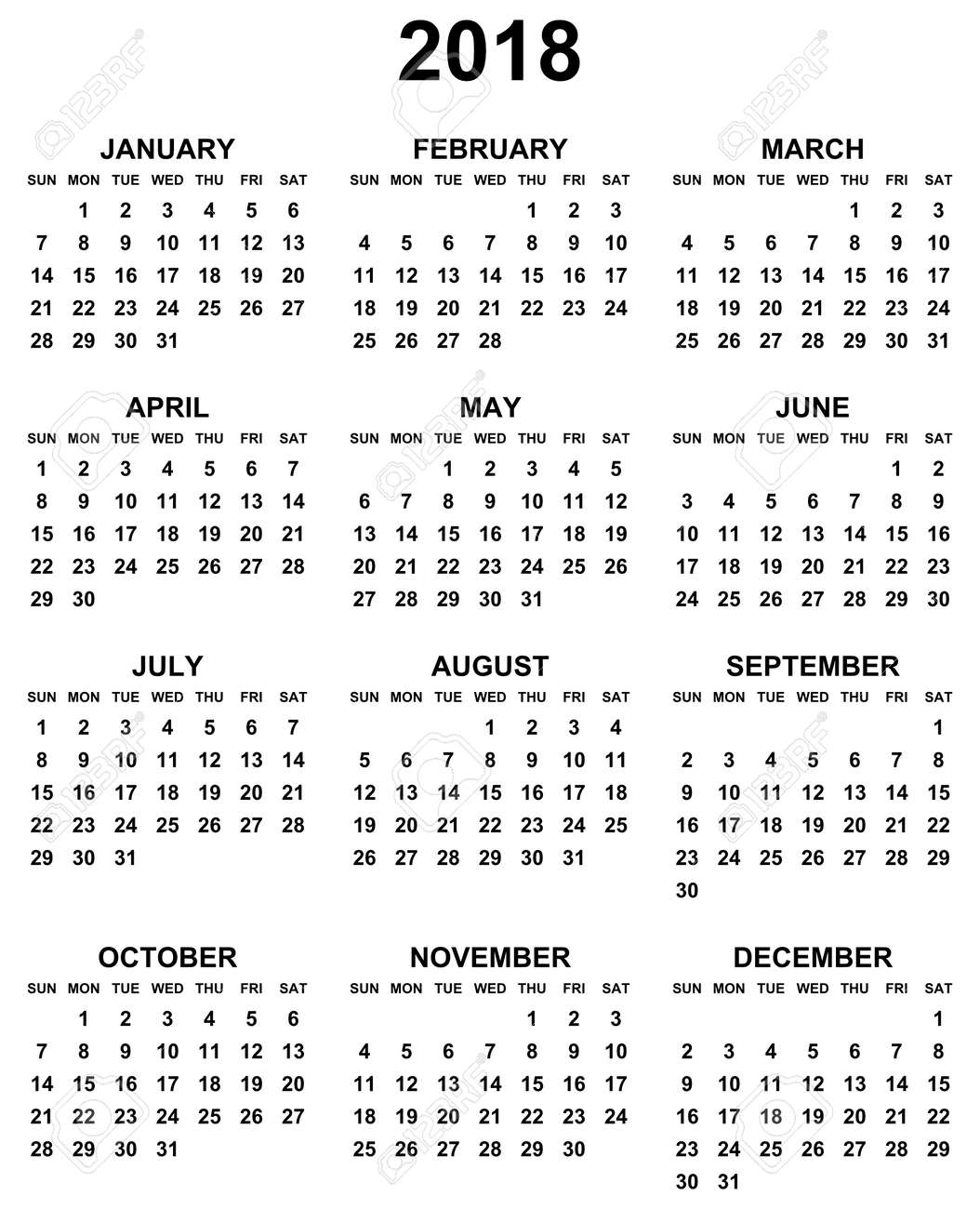 simple editable black and white vector calendar 2018 year sunday first in eps 10 stock