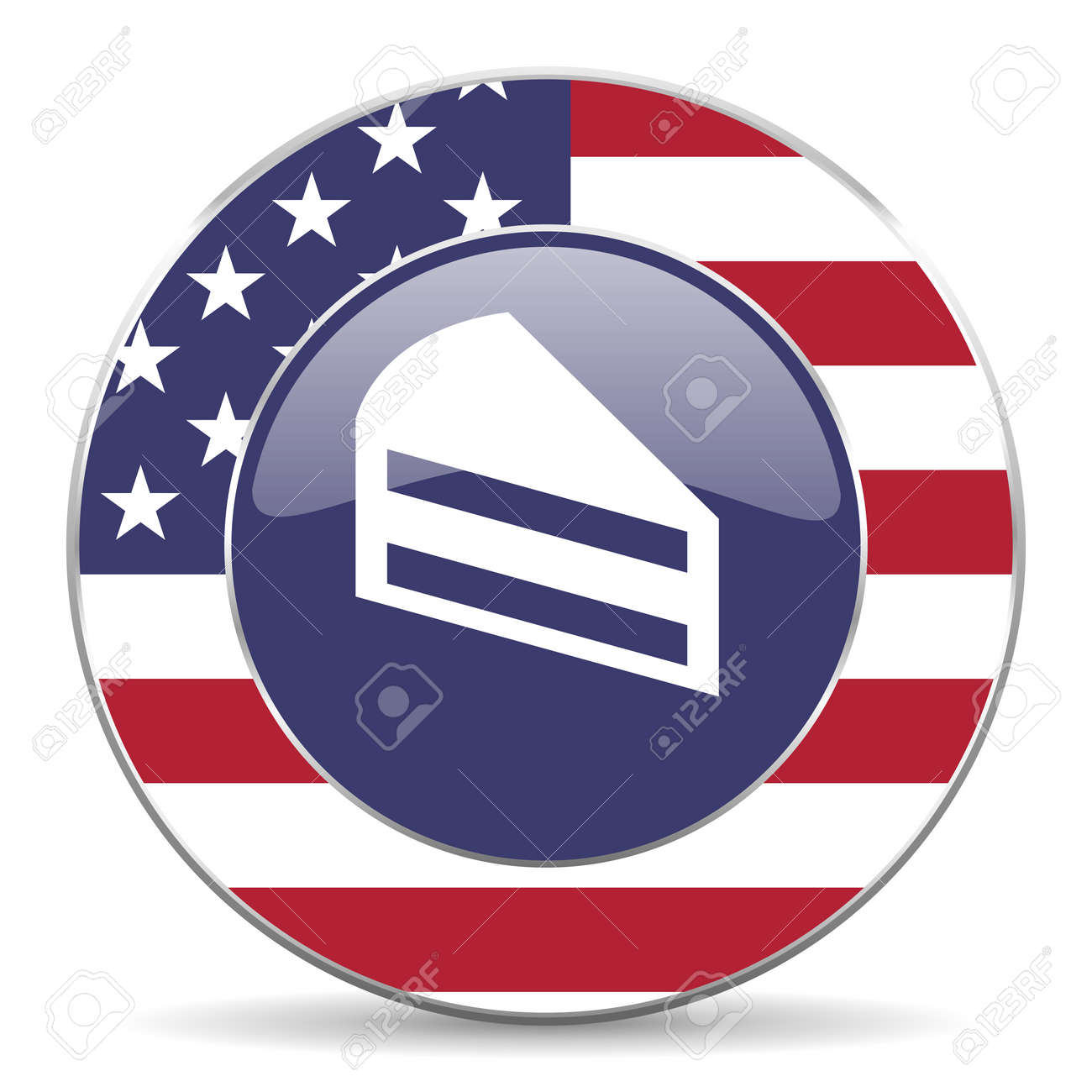Cake Usa Design Web American Round Internet Icon With Shadow Stock