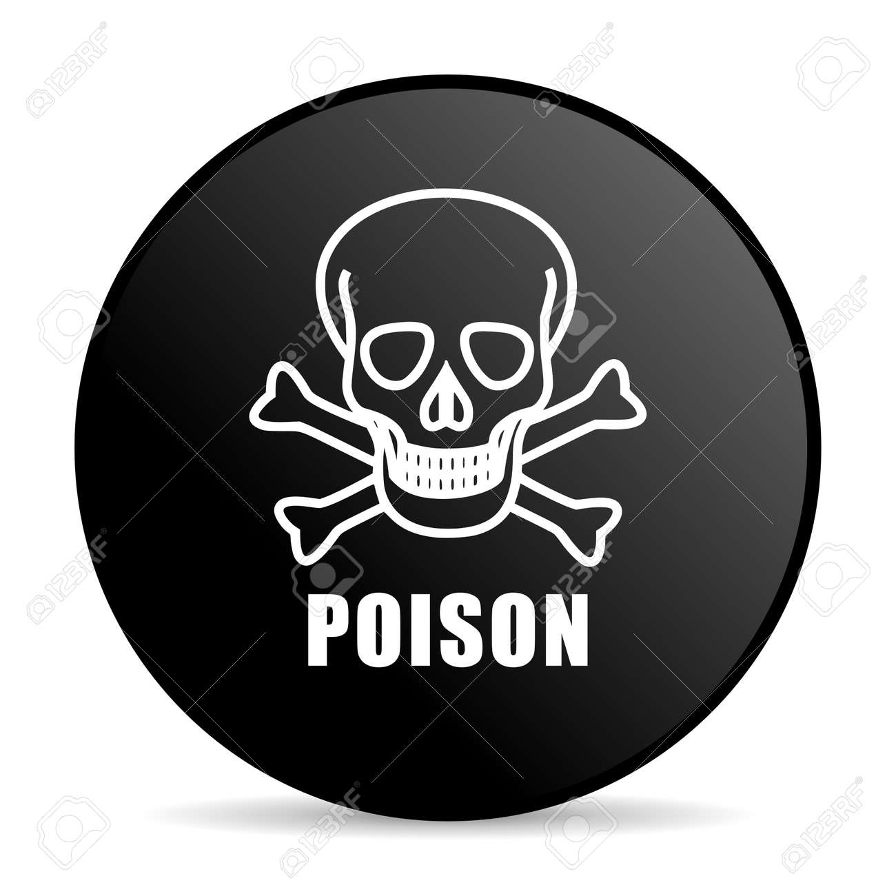 d13425fc61 Poison skull black color web design round internet icon on white  background. Stock Photo -