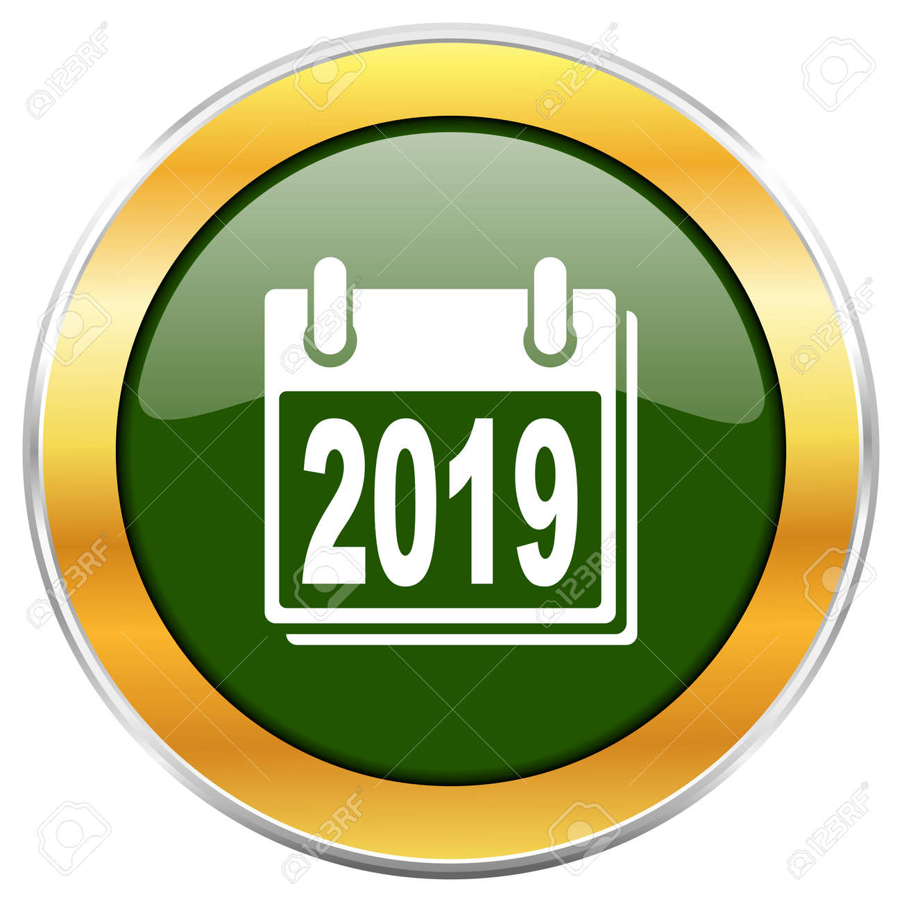 new year 2019 green glossy round icon with golden chrome metallic border isolated on white background