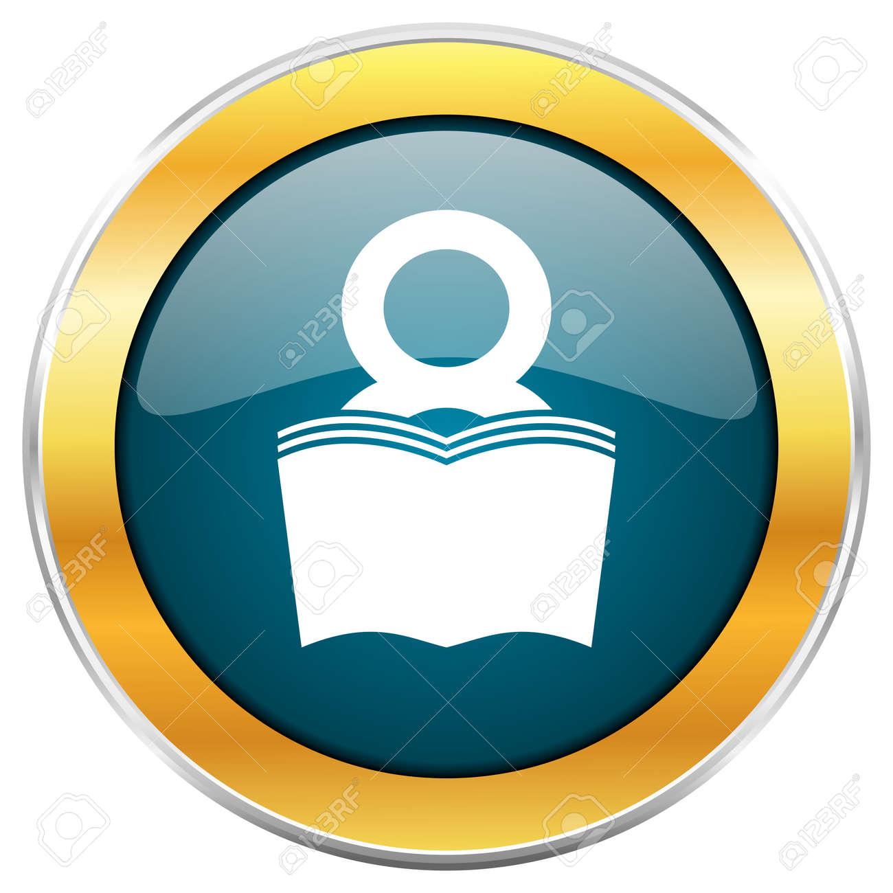 Livre Bleu Brillant Icone Ronde Avec Bordure Metallique Chromee Doree Isole Sur Fond Blanc Pour Les Concepteurs De Sites Web Et Mobiles