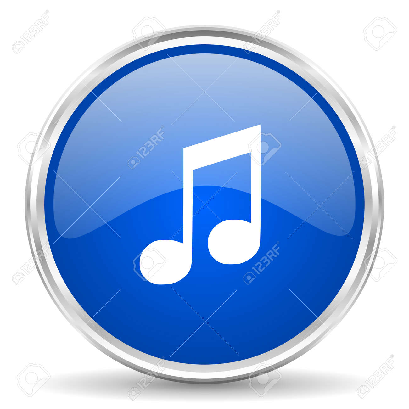Music blue glossy vector icon  Chrome border round web button