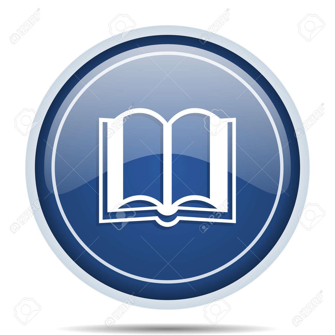 Livre Bleu Rond Icone Web Cercle Bouton Internet Isole Pour Les Applications Webdesign Et Smartphone