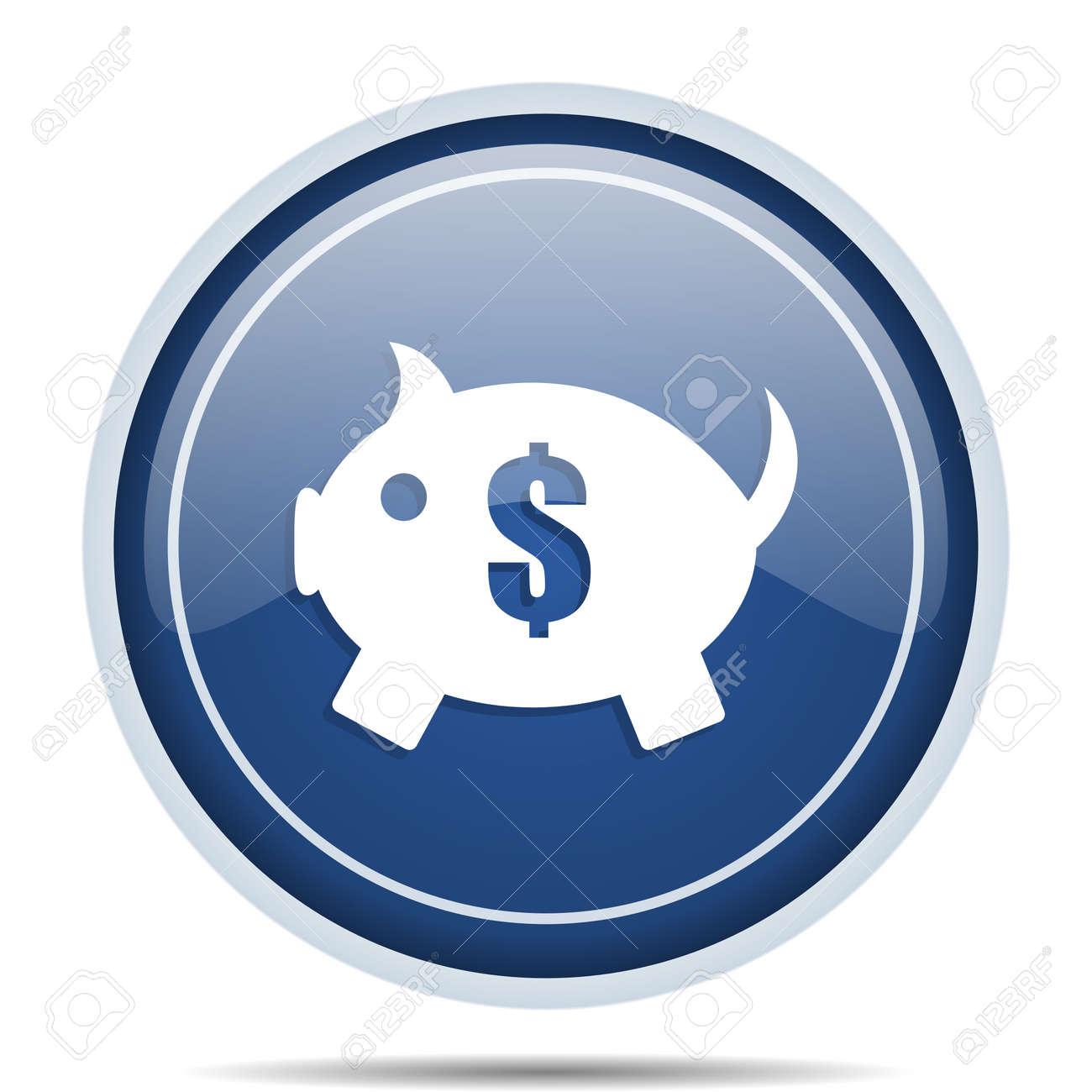 Blauwe Design Bank.Piggy Bank Blauwe Ronde Web Pictogram Cirkel Geisoleerde Internet