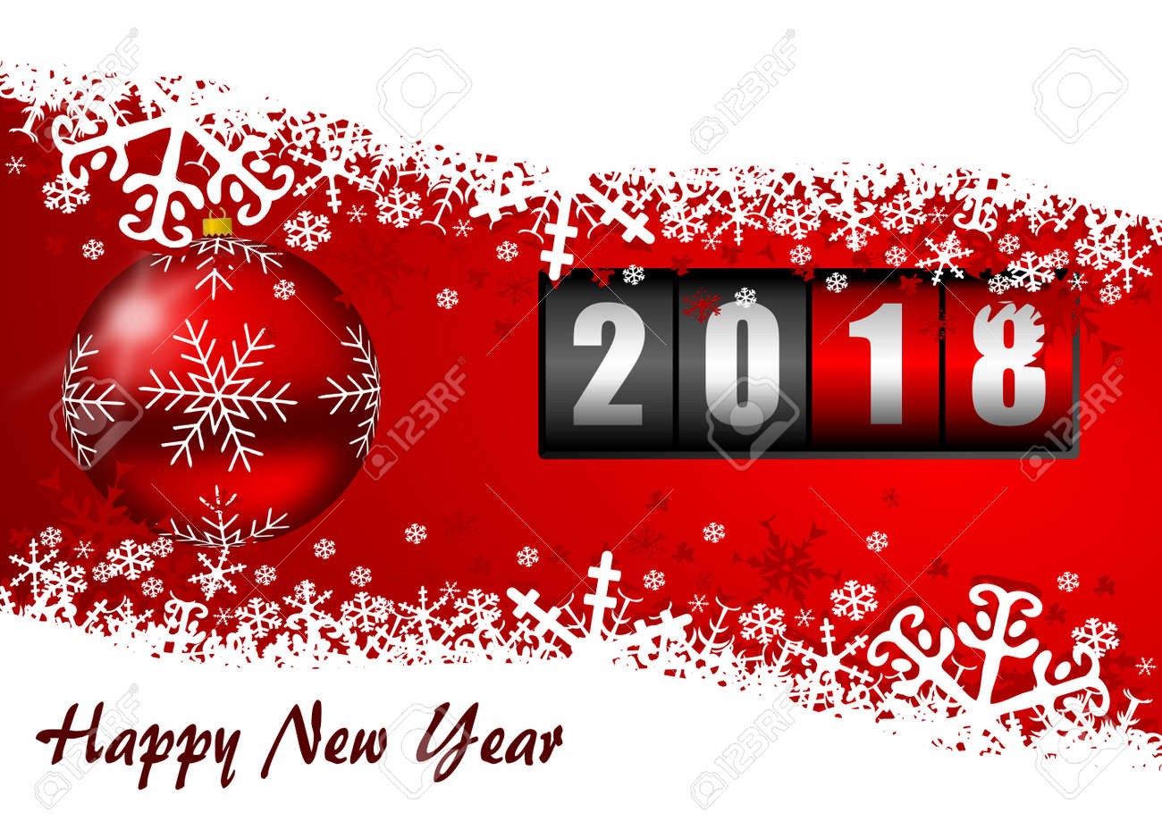 Christmas Counter.Happy New Year 2018 Greeting Card With Counter And Christmas