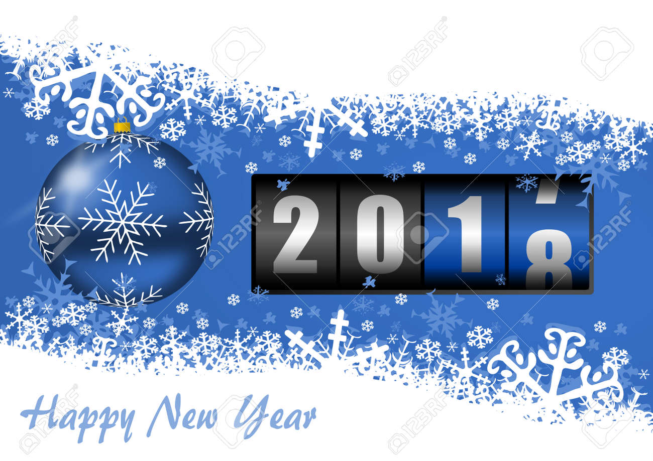 New Year Eve 2018 Greeting Card With Counter And Christmas Ball
