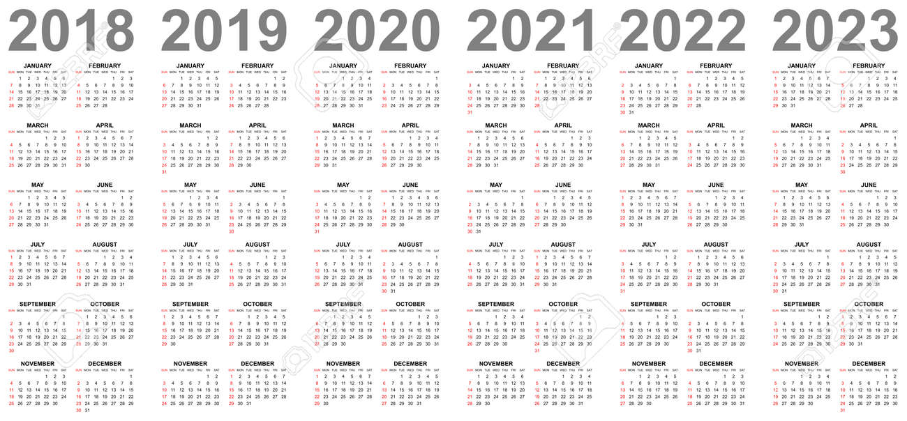 Calendario 2020 Editable Illustrator.Simple Editable Vector Calendars For Year 2018 2019 2020 2021
