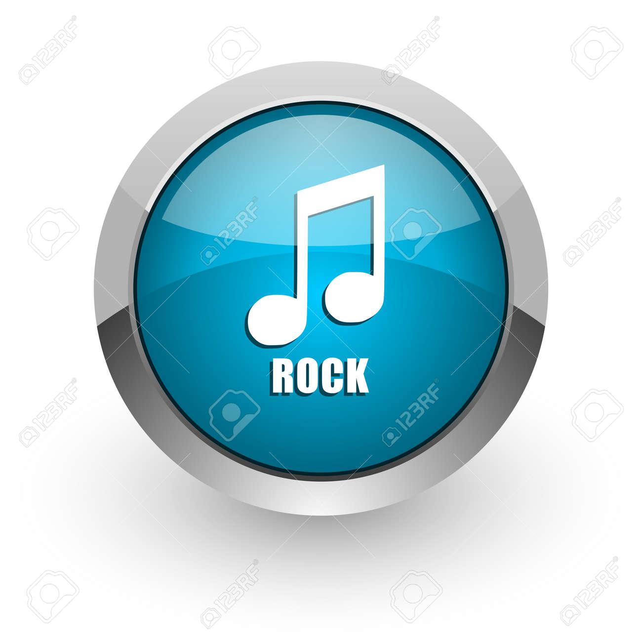 Rock music blue silver metallic chrome border web and mobile