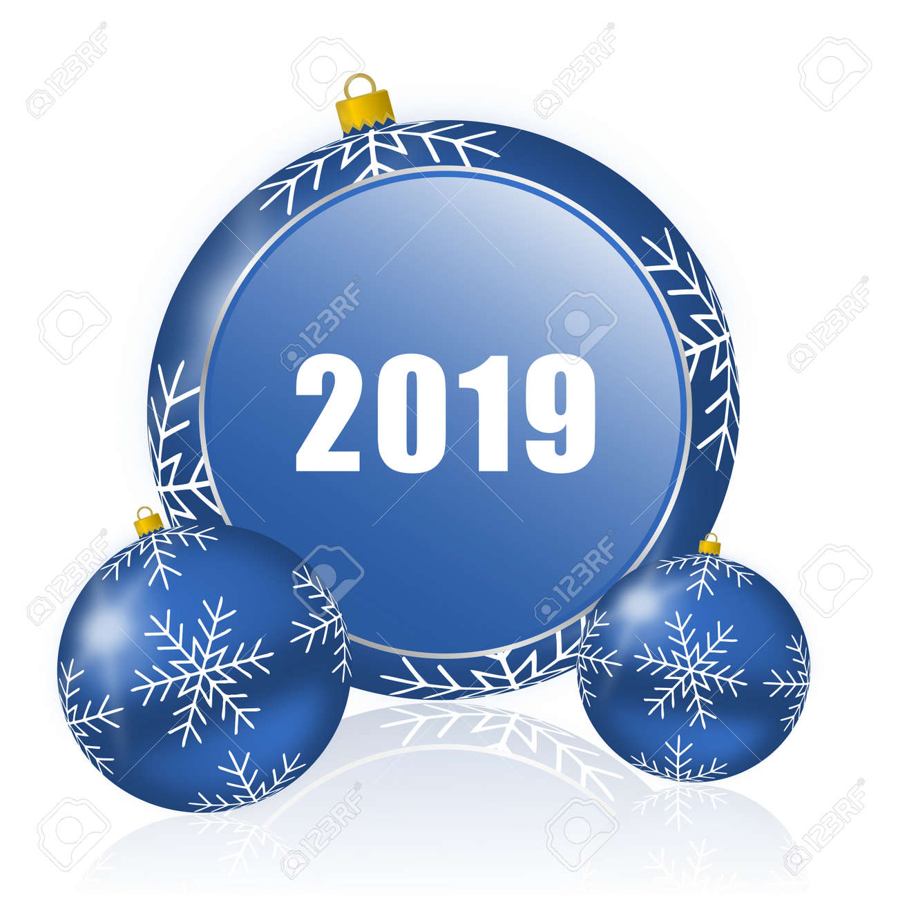 Imagenes De Navidad 2019.Ano Nuevo 2019 Icono De Bolas De Navidad Azul