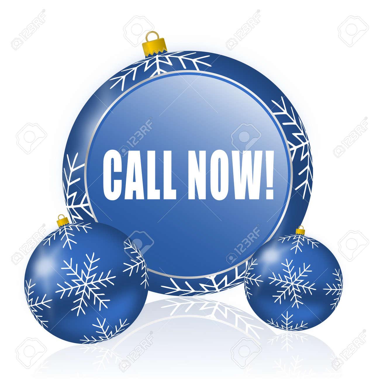Appelez Maintenant Boules De Noël Bleu Icône Banque D'Images Et