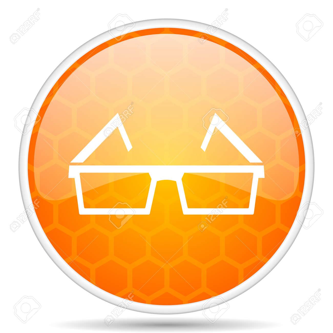 cf652eca094 3d glasses web icon. Round orange glossy internet button for webdesign.  Stock Photo -