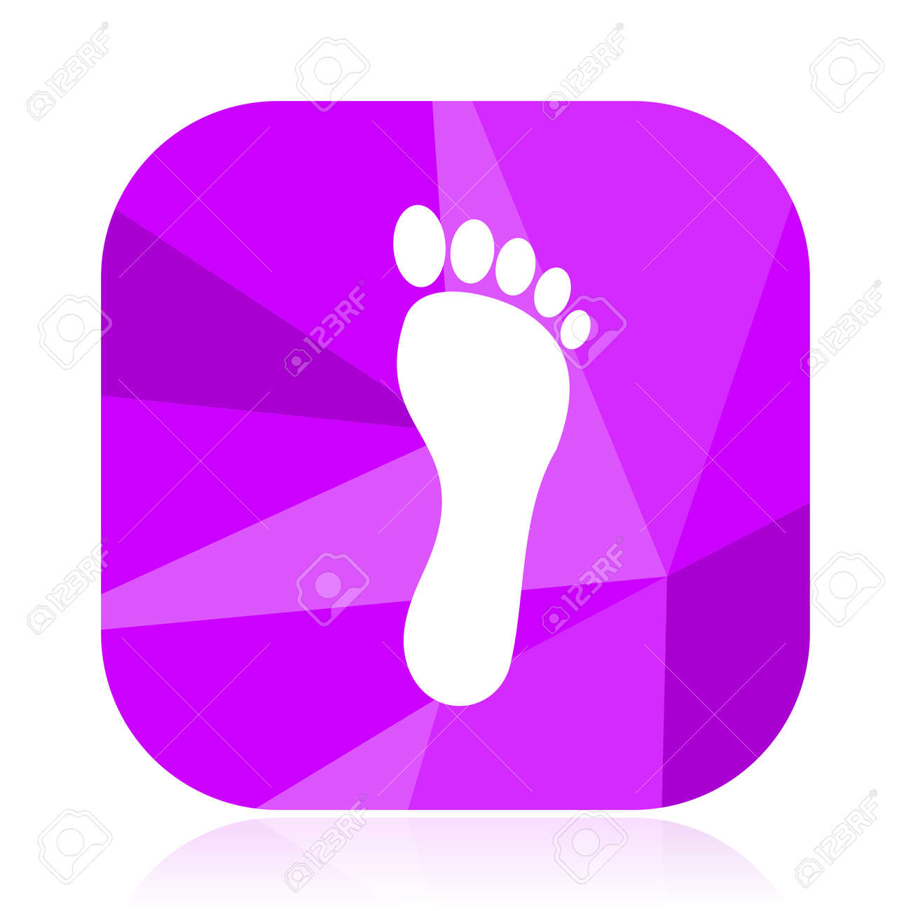 Foot violet square vector web icon. Internet design and webdesign button. Mobile application sign on white background. - 103060113