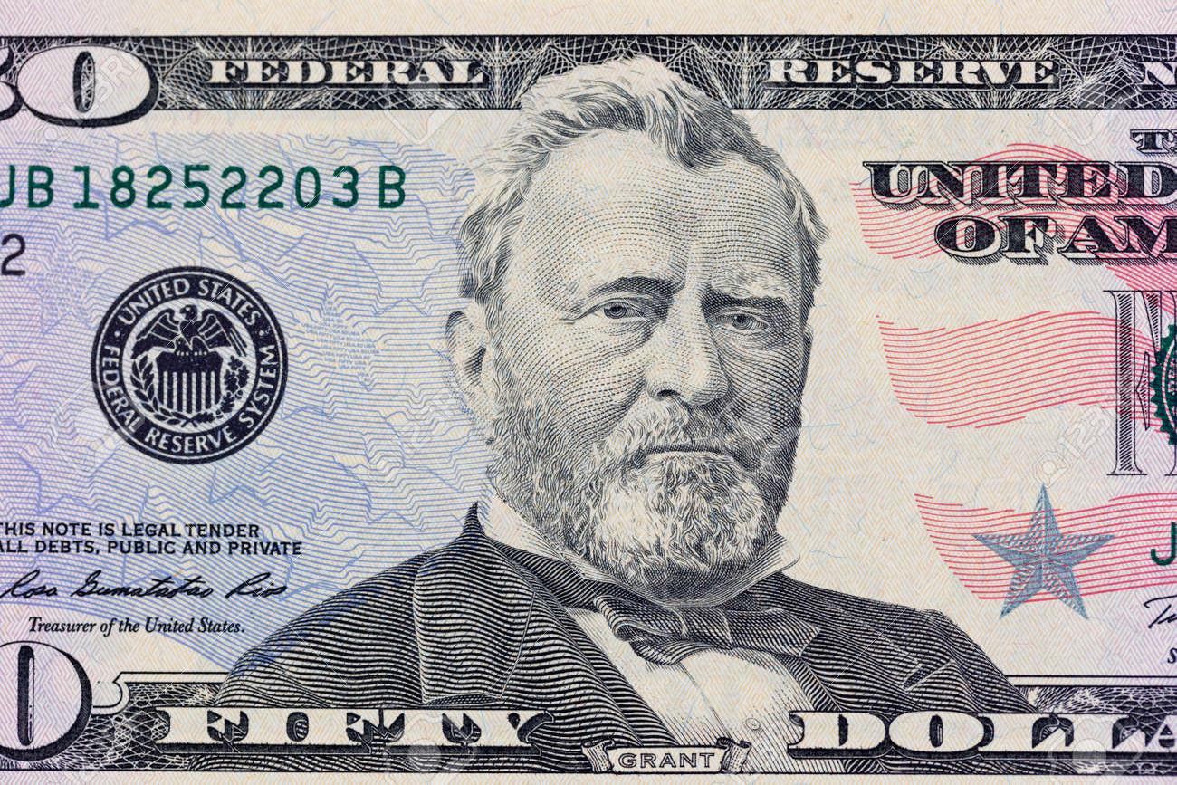 Ulysses S  Grant on the 50 dollars bill macro photo  United States