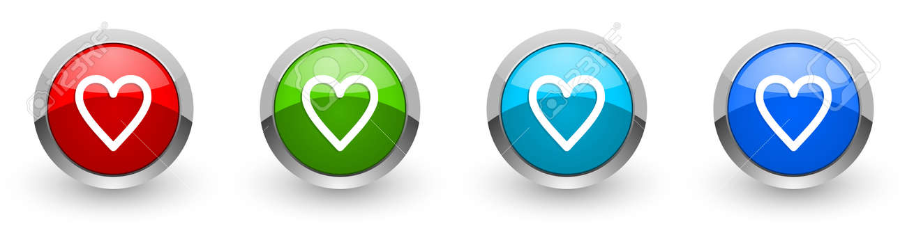 Heart silver metallic glossy icons, set of modern design buttons for web, internet and mobile applications in four colors options isolated on white background - 130755341