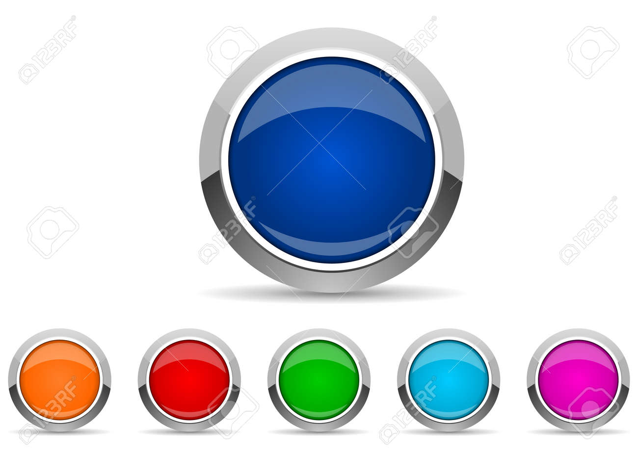 set of silver metallic chrome border web buttons in 6 color options, vector icons template - 140985112