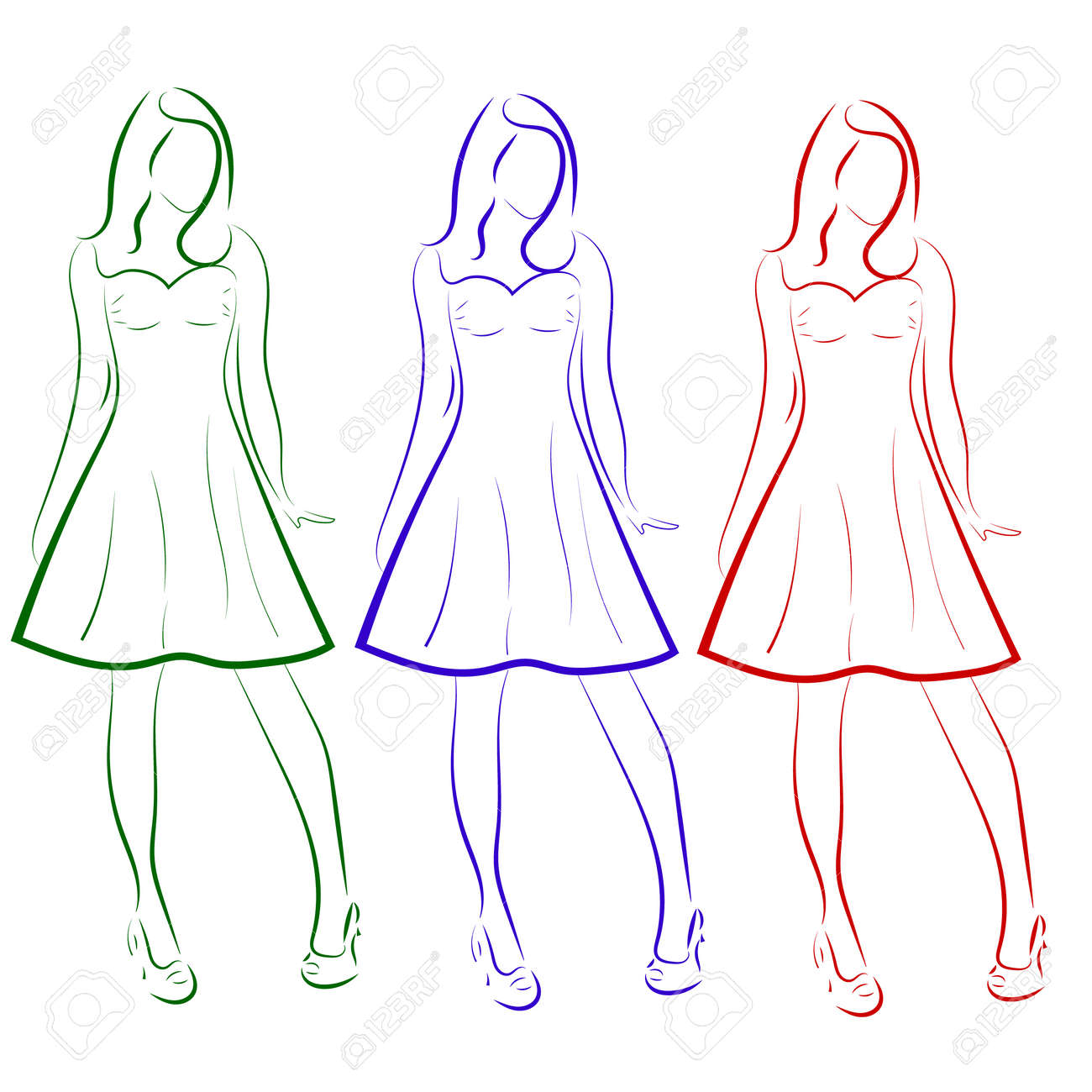 Vector vector silhouette of colored outline drawing of three girls in dresses a sketch