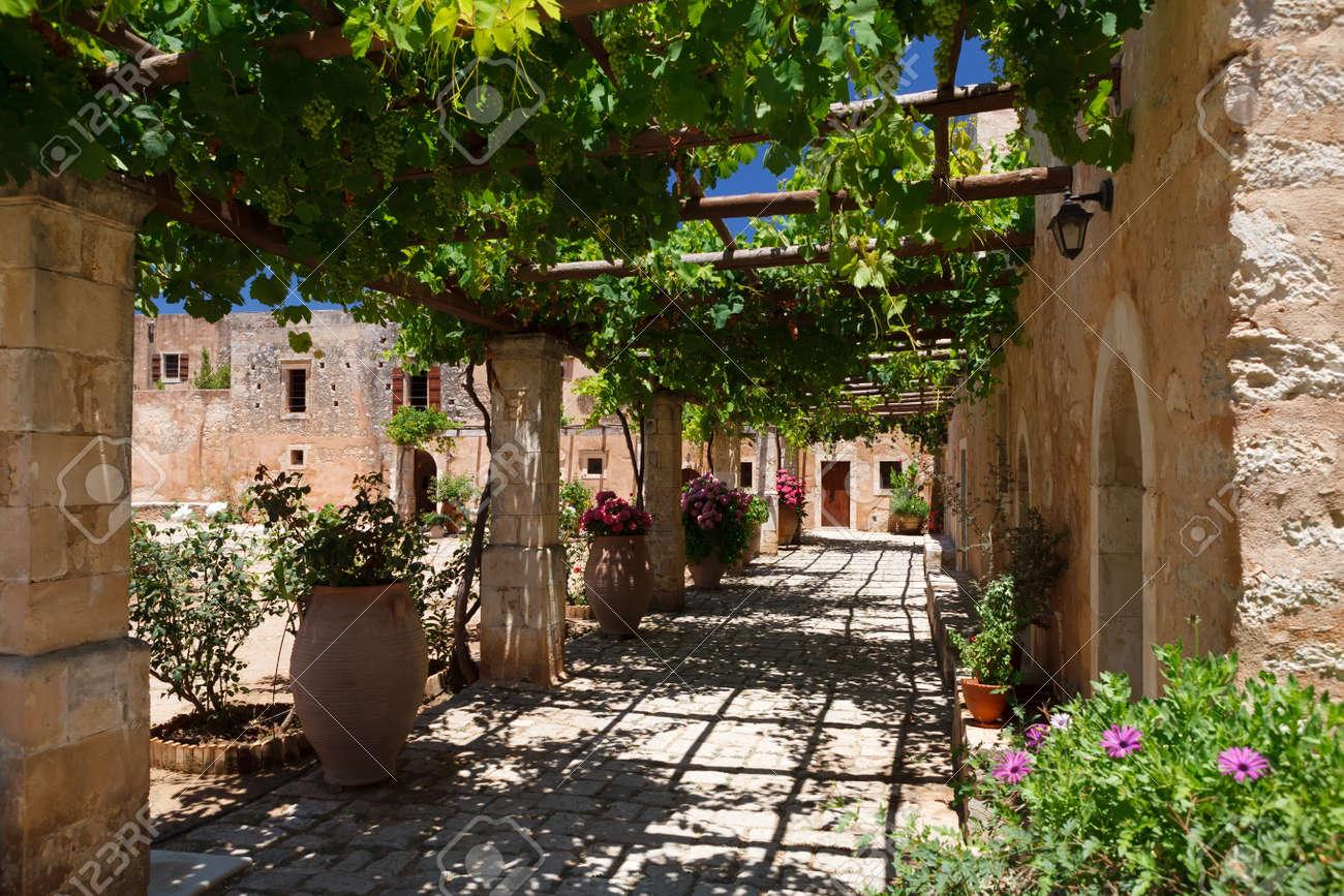 Inner Garden Monastery Of Arkadi, Crete, Greece Stock Photo   16355951