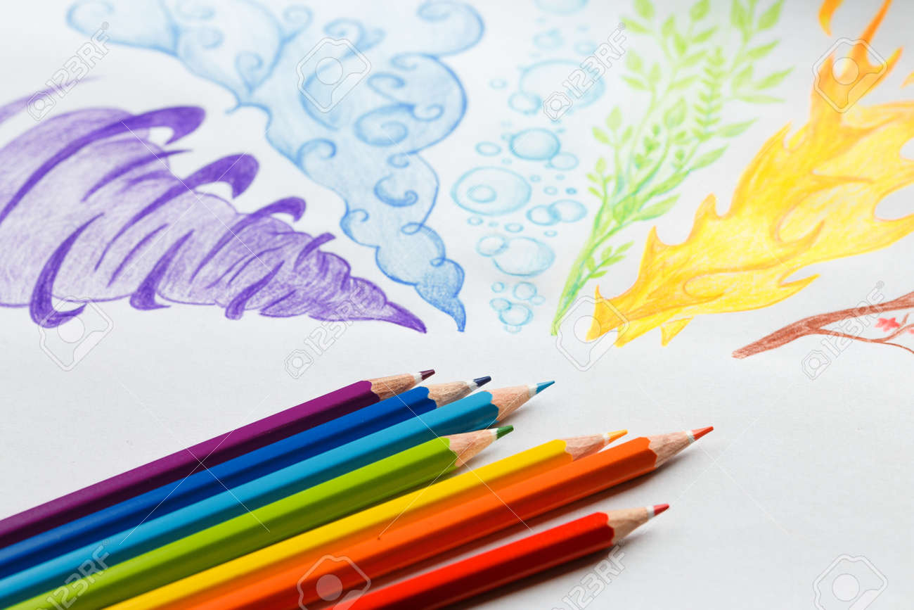 Colored Pencils Drawing Rainbow Smoke Flat Lay Pencils With Stock Photo Picture And Royalty Free Image Image 138065867