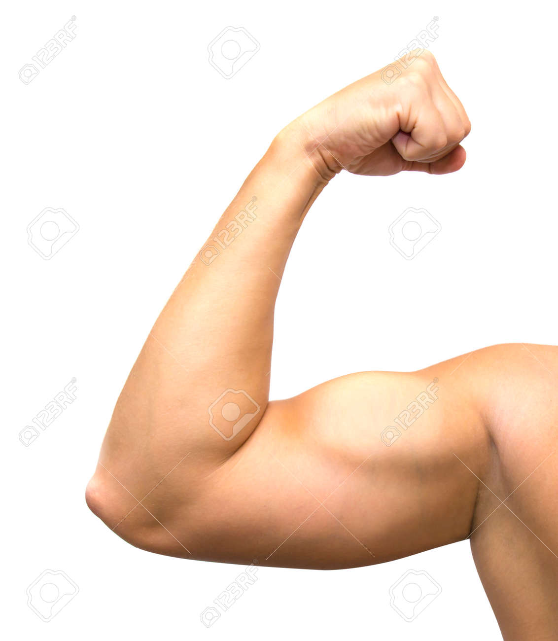 A Muscular Mans Arm And Shoulder Flexing Stock Photo Picture And