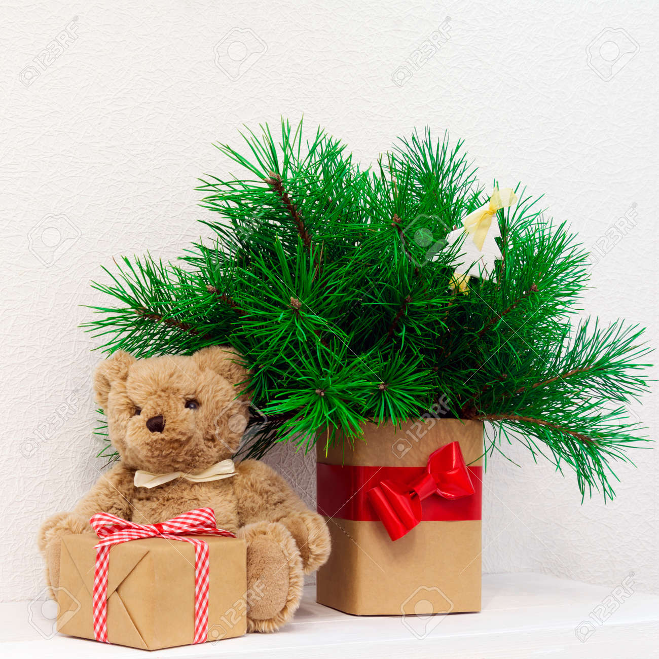 Concept Of Interior Decor Bear Toy For Baby Gift Box Fir Tree