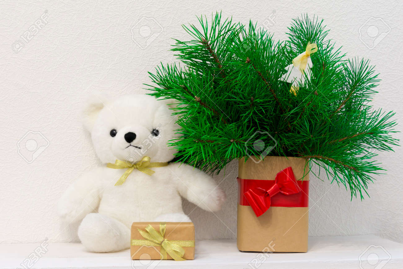 Concept Of Interior Decor White Bear Toy For Baby Gift Box