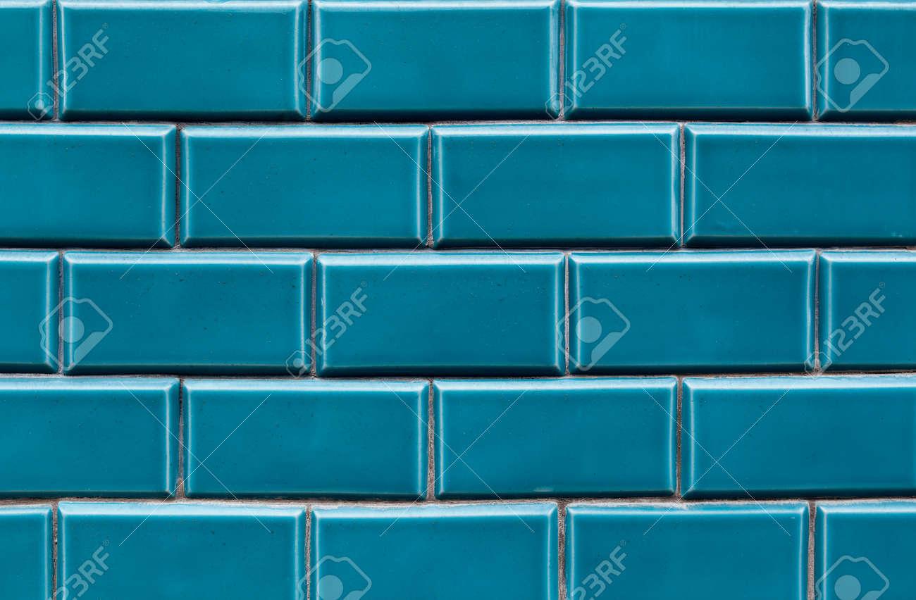 Blue Ceramic Brick Tile Wall,background Tiles On Facade Stock Photo ...