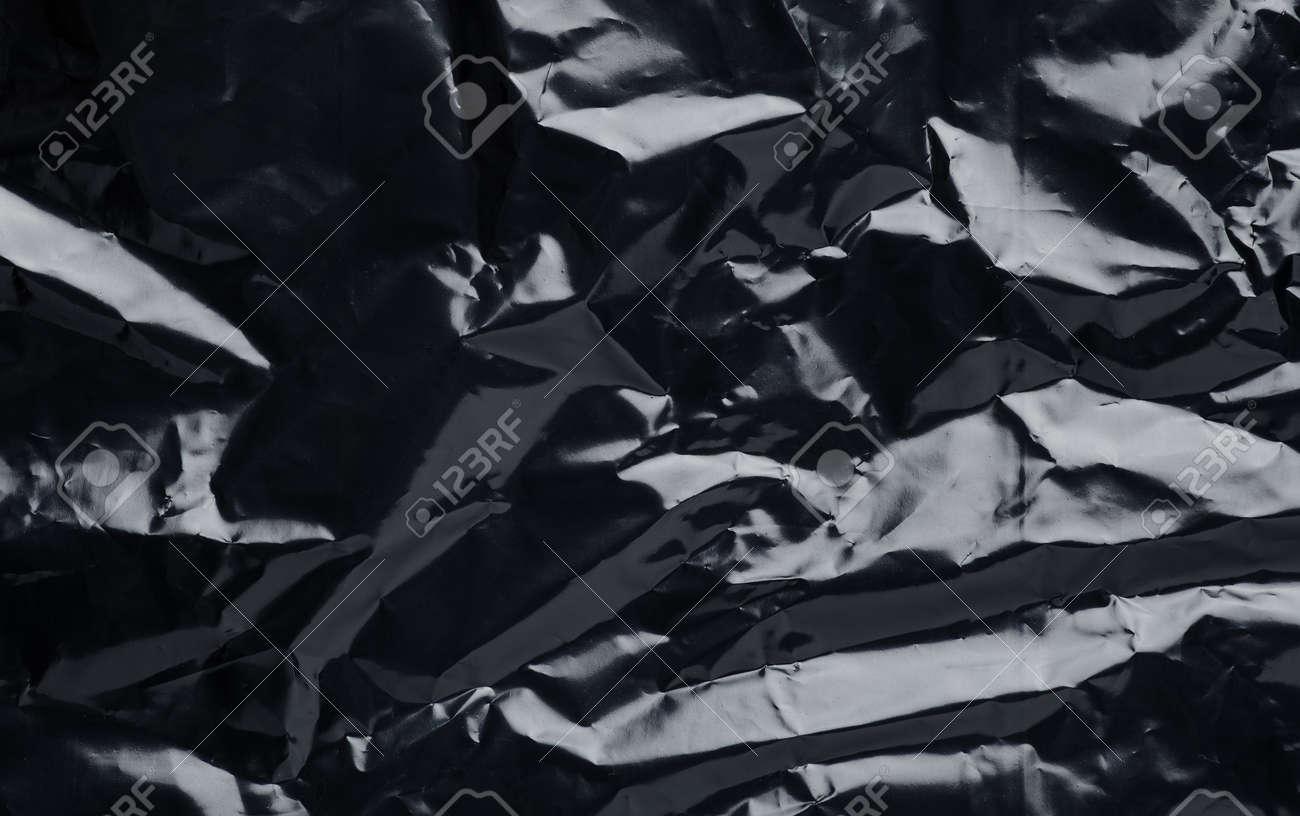 black plastic bag close up texture background - 120058219