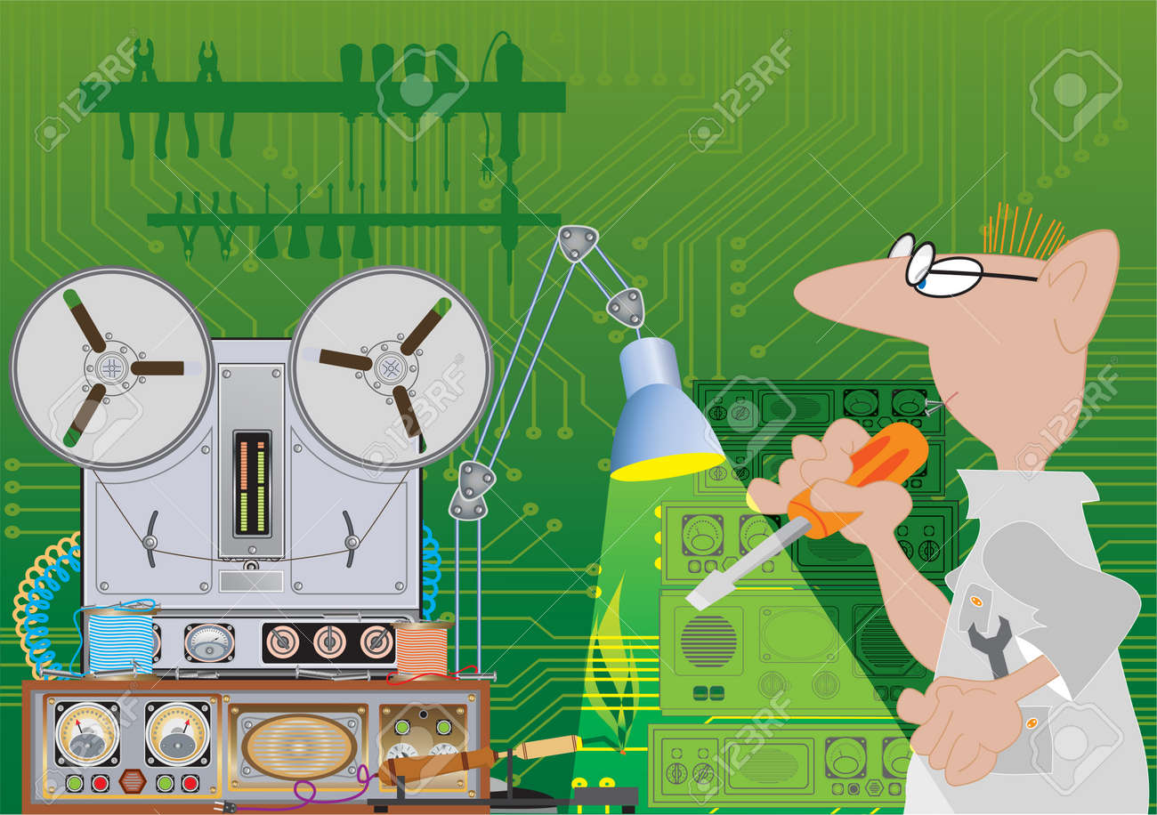 Electrician. Illustration on a theme profession Stock Vector - 11973269