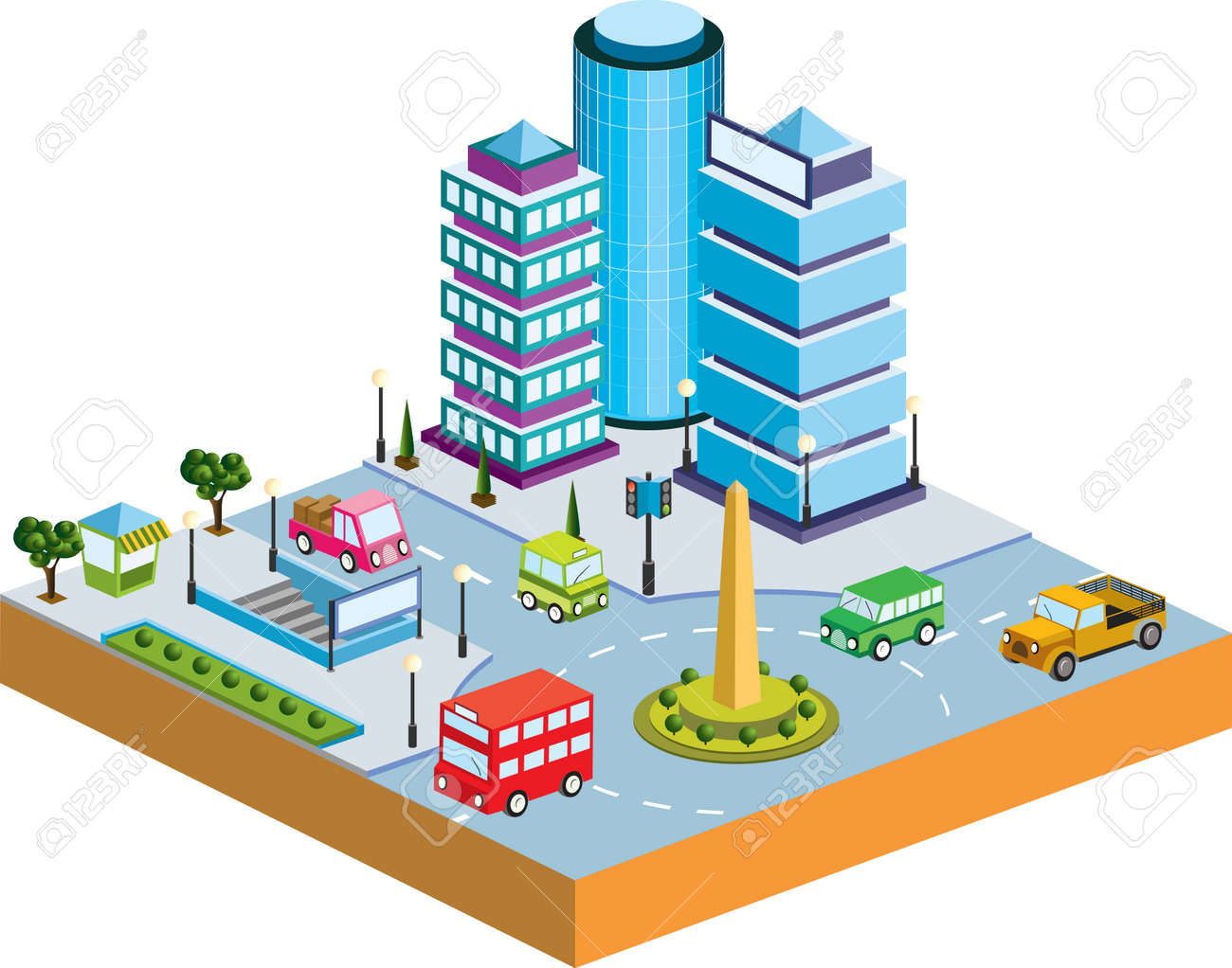 Town in isometric view with the landscape Stock Vector - 12004636