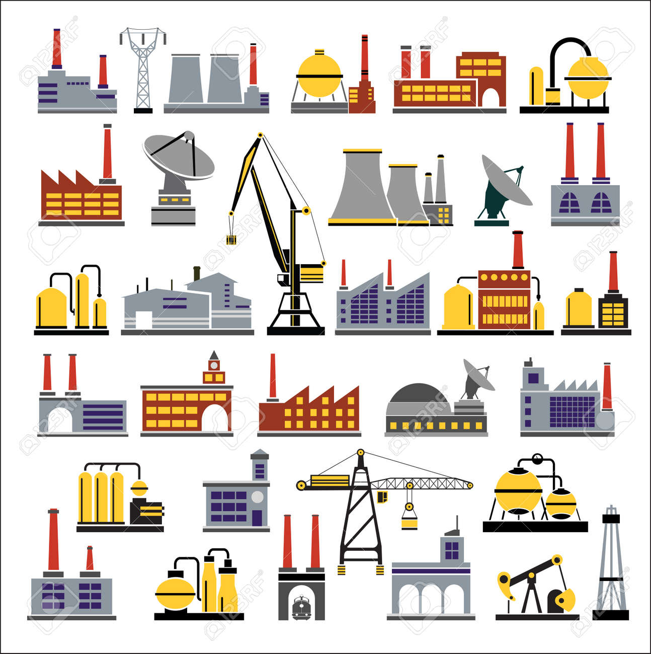 Colored Industrial buildings on a white background Stock Vector - 12021919