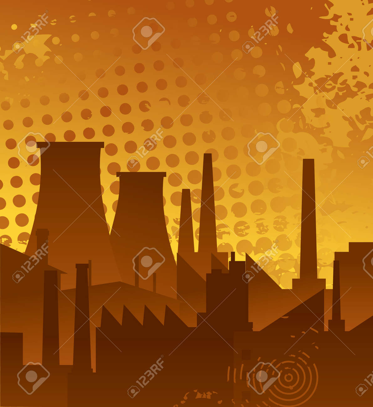 Industrial plant on a background of abstract backdrop Stock Vector - 12021931