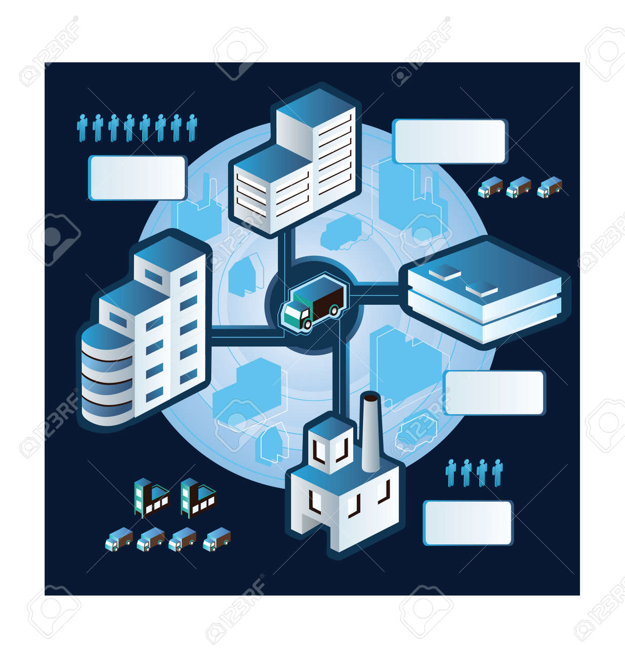 Industrial plant  in isometric view with the landscape Stock Vector - 12038316