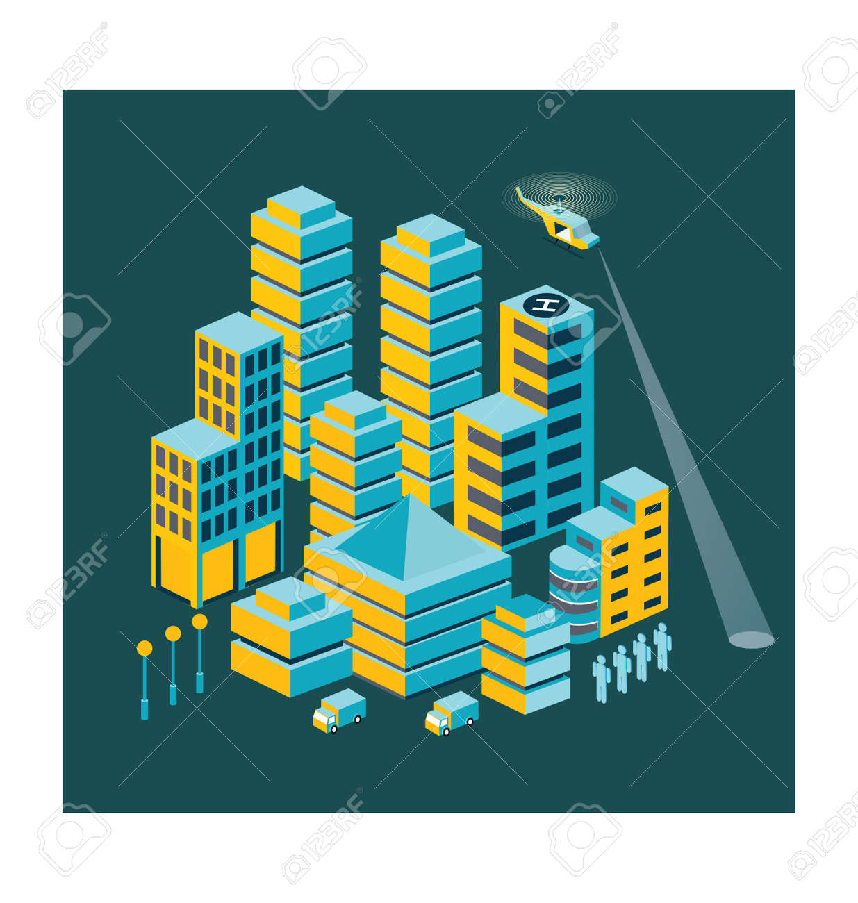 Town in isometric view with the landscape Stock Vector - 12038327