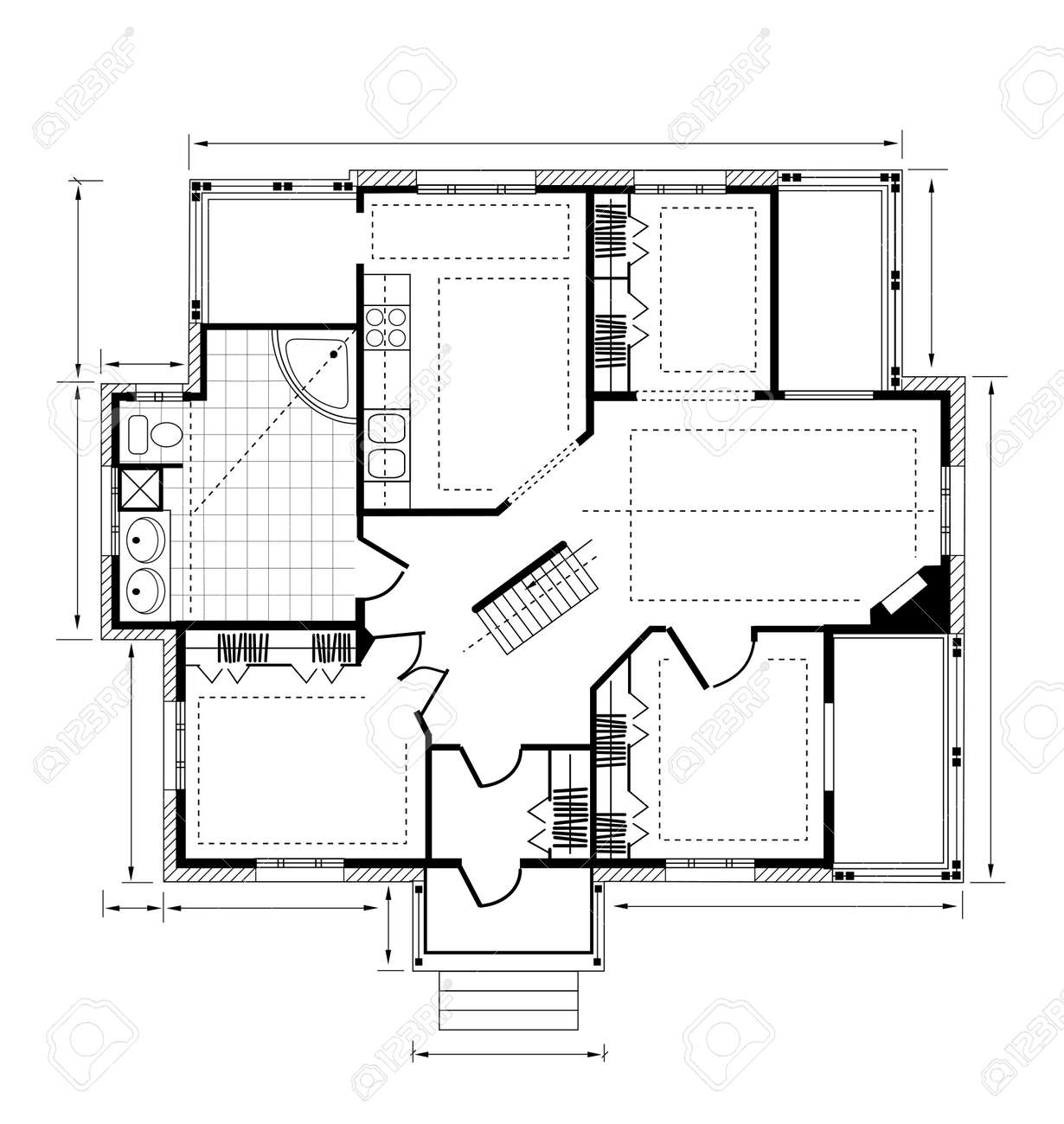 Plan a country house on a white background Stock Vector - 12480644