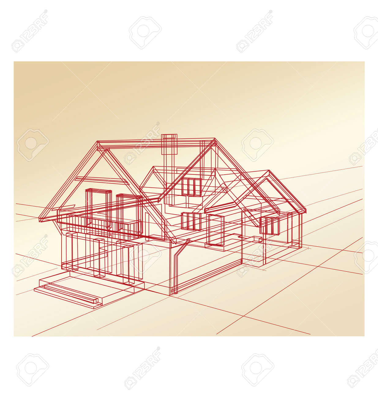 plan a country house on a pink background royalty free cliparts