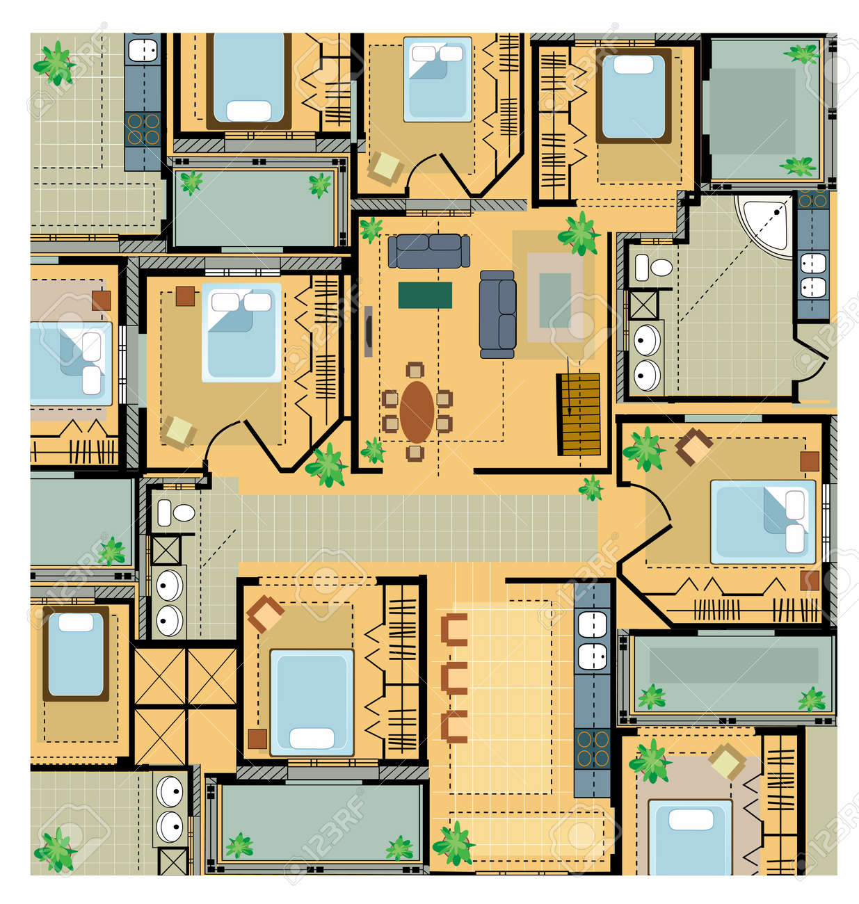 12 400 architectural plans stock illustrations cliparts and architectural plans color plan house on a white background