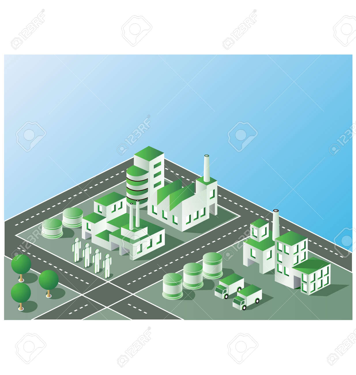 Industrial plant  in isometric view with the landscape Stock Vector - 12480664