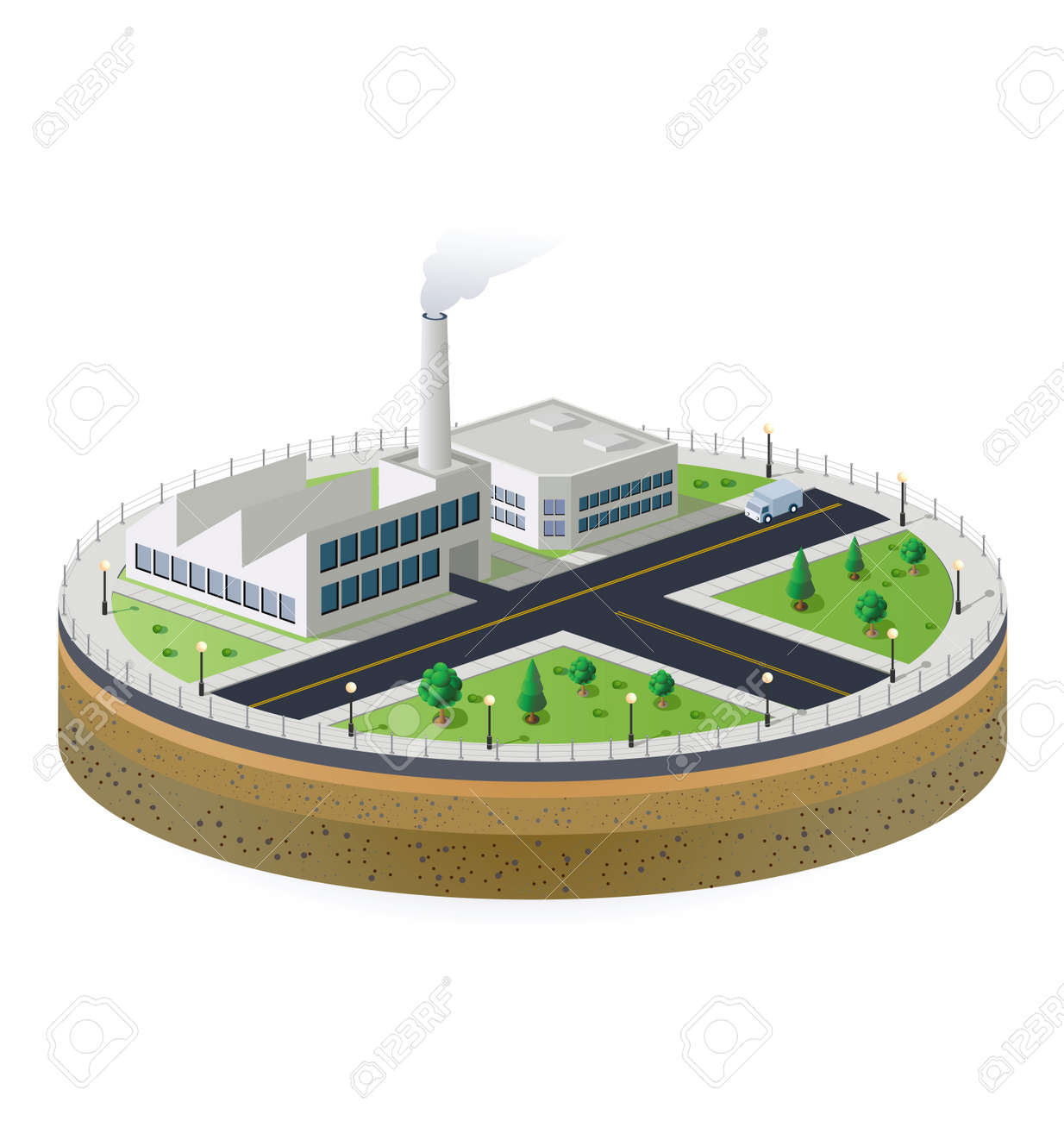 Industrial plant  in isometric view with the landscape Stock Vector - 12481247