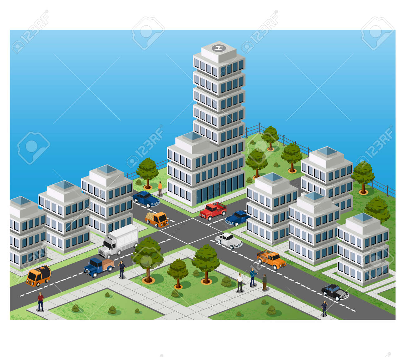 Isometric image of a fragment of the city on a colored background Stock Vector - 12481609