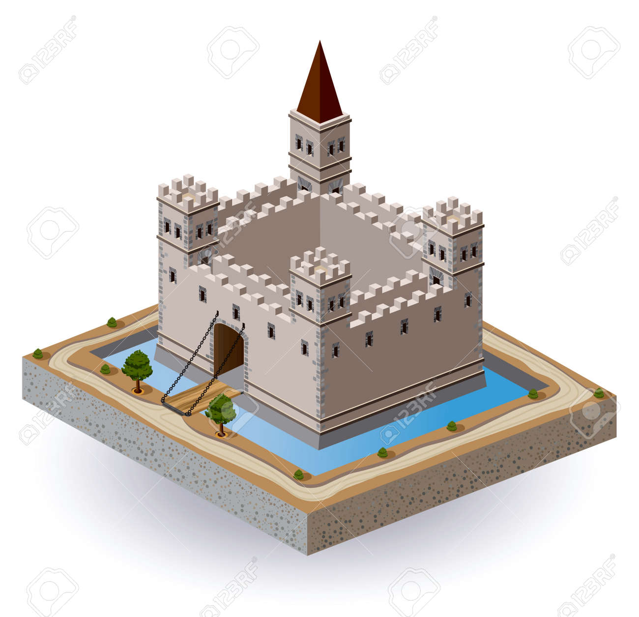 Isometric projection of the vector of a medieval castle with a moat and gate Stock Vector - 12481563