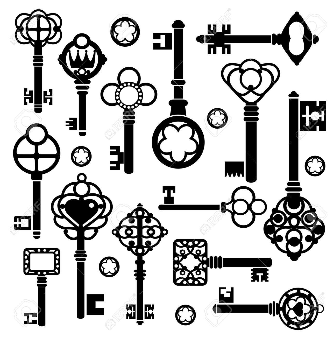Silhouettes set di chiavi e serrature su uno sfondo bianco Archivio Fotografico - 13180978