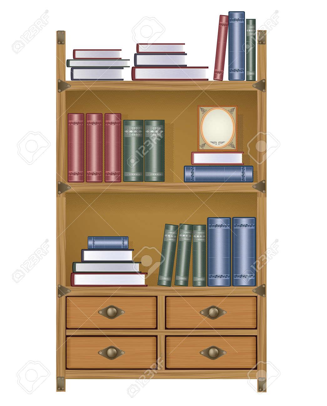 Книжный шкаф с книгами и коробками клипарты, векторы, и набо.