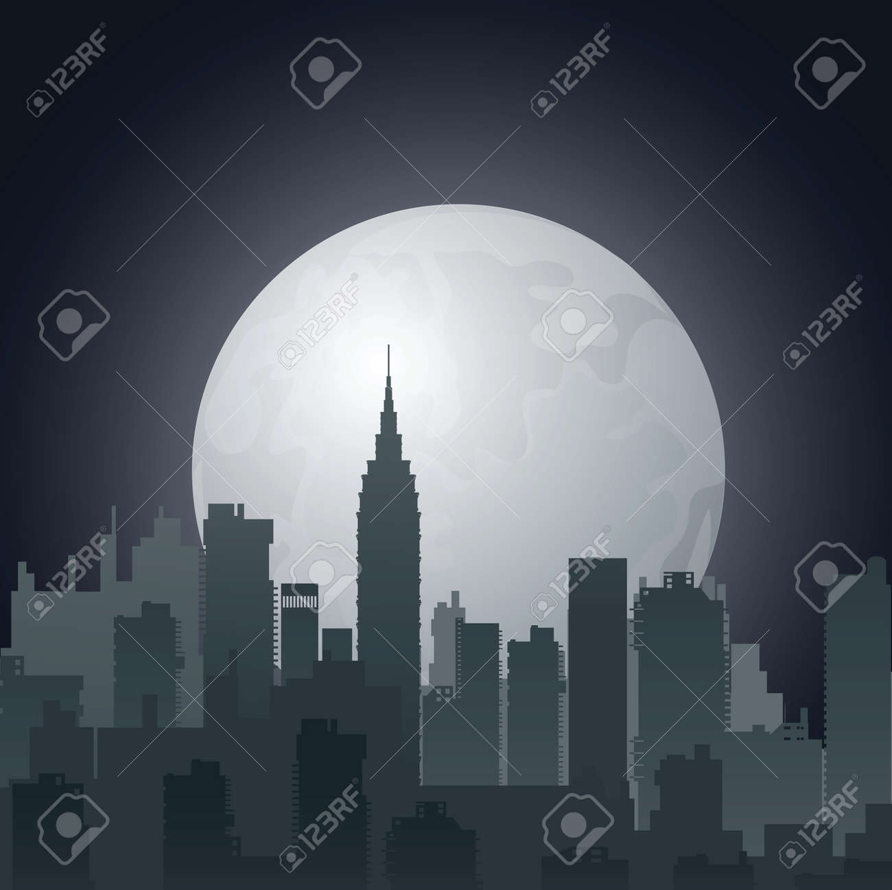 night city against the evening sun Stock Vector - 13180983