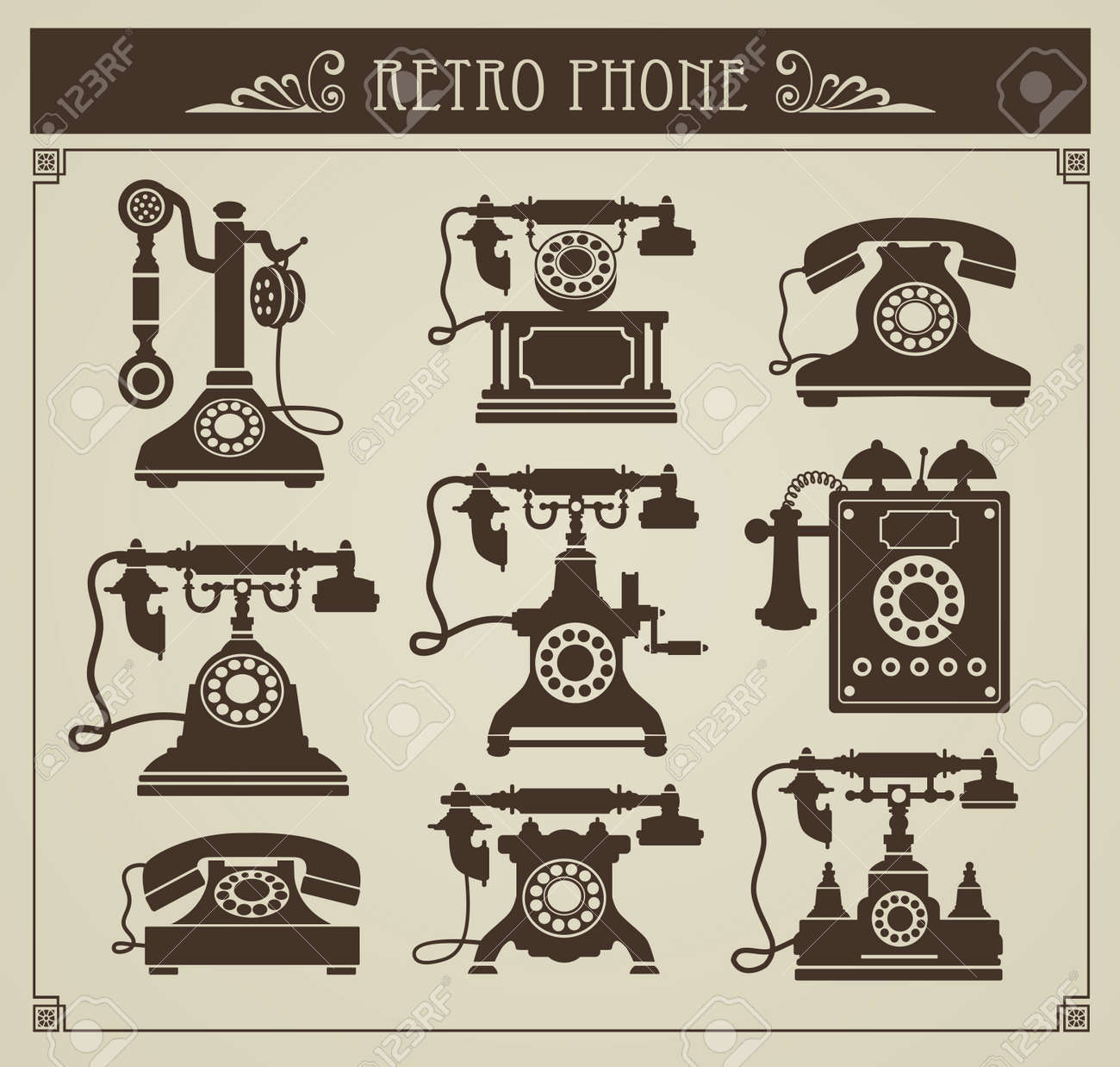The set of vintage phones on a gray background - 13180984