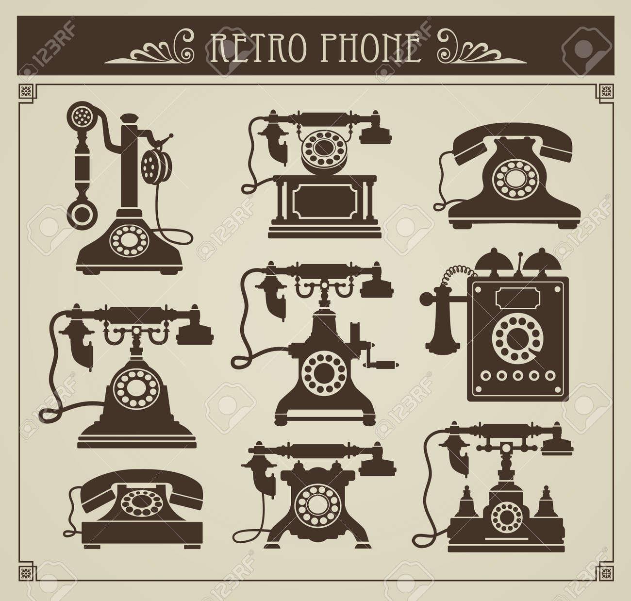 La serie di telefoni d'epoca su sfondo grigio Archivio Fotografico - 13180984