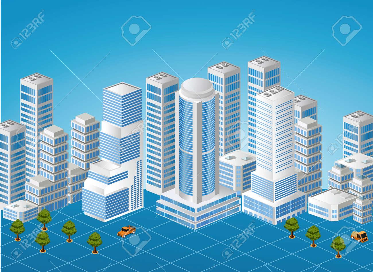 Immagine isometrica di un frammento della città su uno sfondo colorato Archivio Fotografico - 13691607