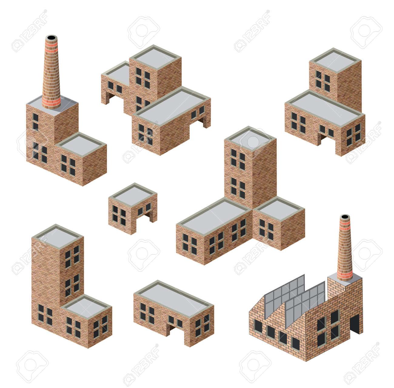 immagini isometriche di edifici industriali in mattoni Archivio Fotografico - 13691611