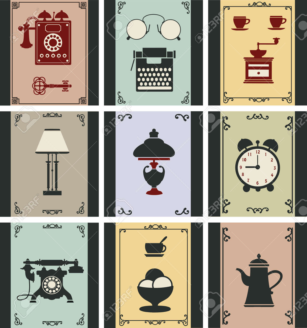 A set of isolated vintage objects Stock Vector - 14992960
